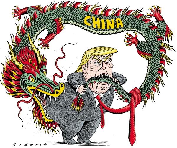 Трамп против Китая карикатура