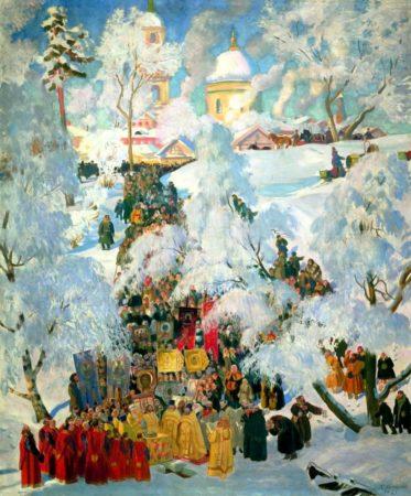 Зима. Крещенское водосвятие, 1921 год. Частная коллекция.