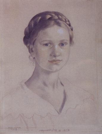 Портрет И.Б. Кустодиевой, дочери художника 1919 Государственный Русский музей, Санкт-Петербург