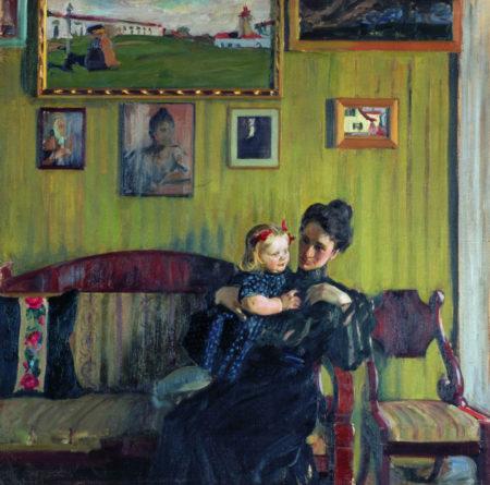 Портрет Ю.Е. Кустодиевой с дочерью Ириной, 1908 год. Государственная Третьяковская галерея, Москва