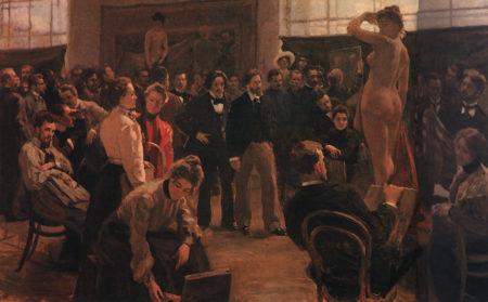 Постановка модели в мастерской И.Е. Репина в Академии художеств 1899. Научно-исследовательский музей Российской Академии художеств, Санкт-Петербург