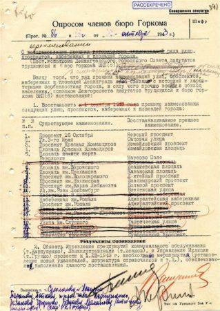 Лист голосования партийного руководства по возвращению имен улицам Ленинграда
