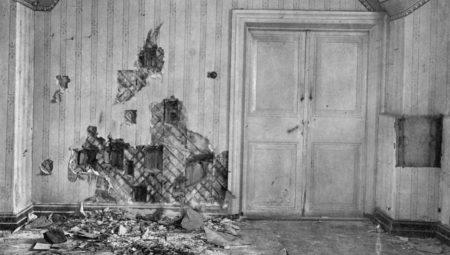 Комната в подвальном этаже дома Ипатьева, где был убит император Николай II и его семья.