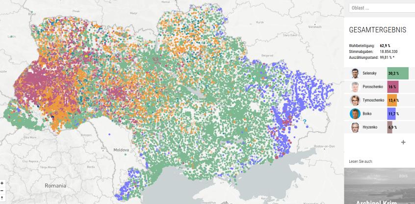 Карта выборов на Украине с победителями на участках